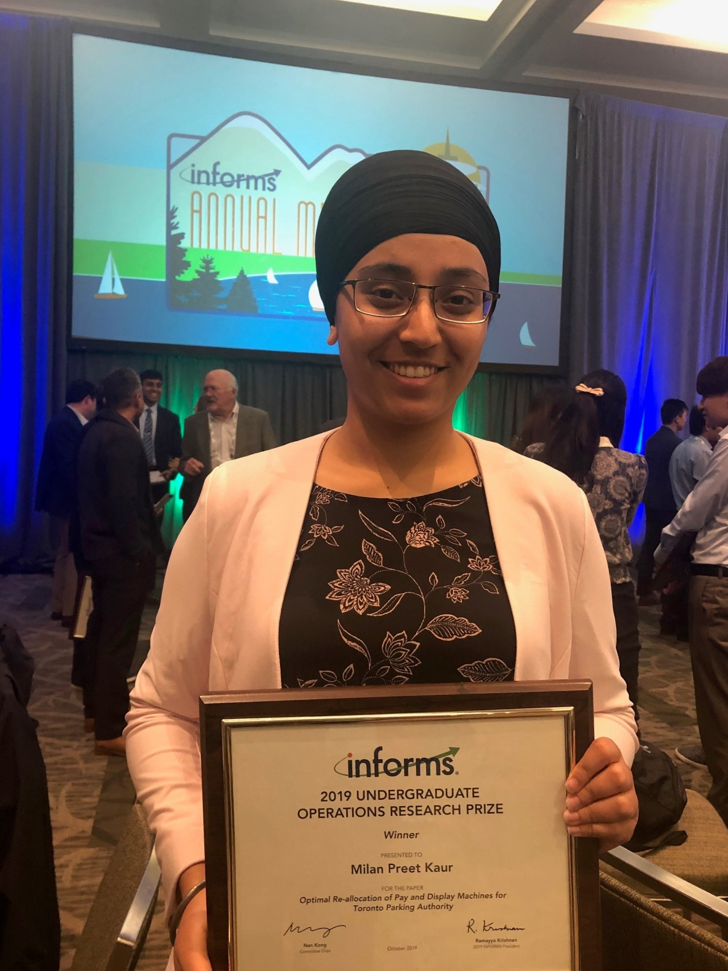 Milan Preet Kaur was awarded first place at the INFORMS Undergraduate Operations Research Prize Competition for her team's 2019
