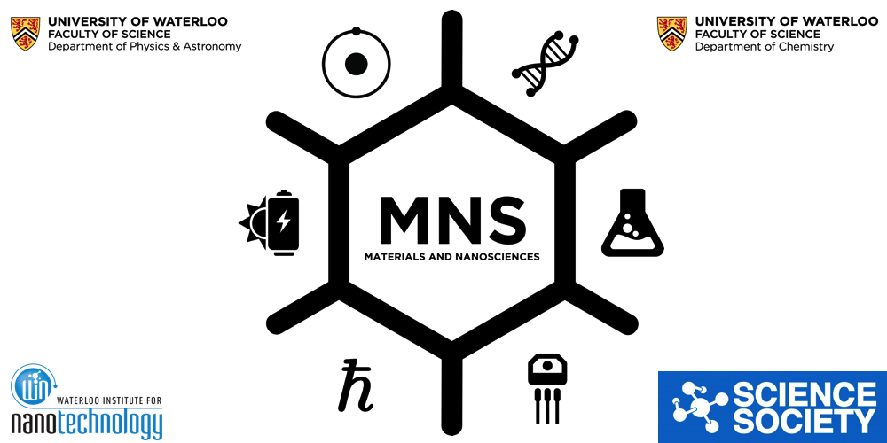 Materials and Nanosciences Society banner logo with affiliates: WIN, Science Society, Dept of Physics and Dept of Chemistry
