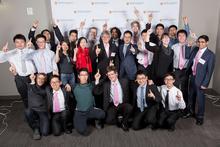 Undergraduate award winners with the Dean of Mathematics