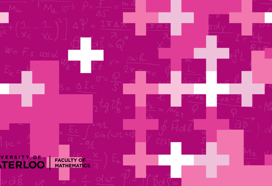 pink background with plus signs and equations