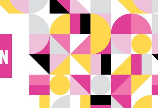 WWIN Banner with mosaic pattern pink, black, gold and white