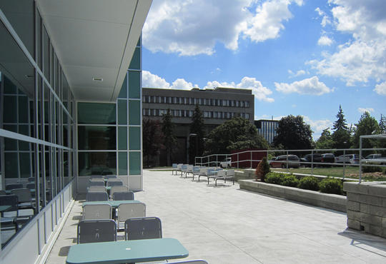 The Mathematics 3 patio overlooking the Mathematics and Computing building
