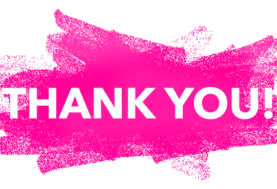 pink thank you banner