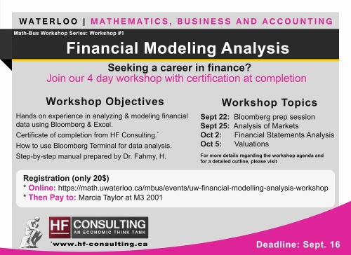 University Of Waterloo Financial Modelling Analysis Workshop