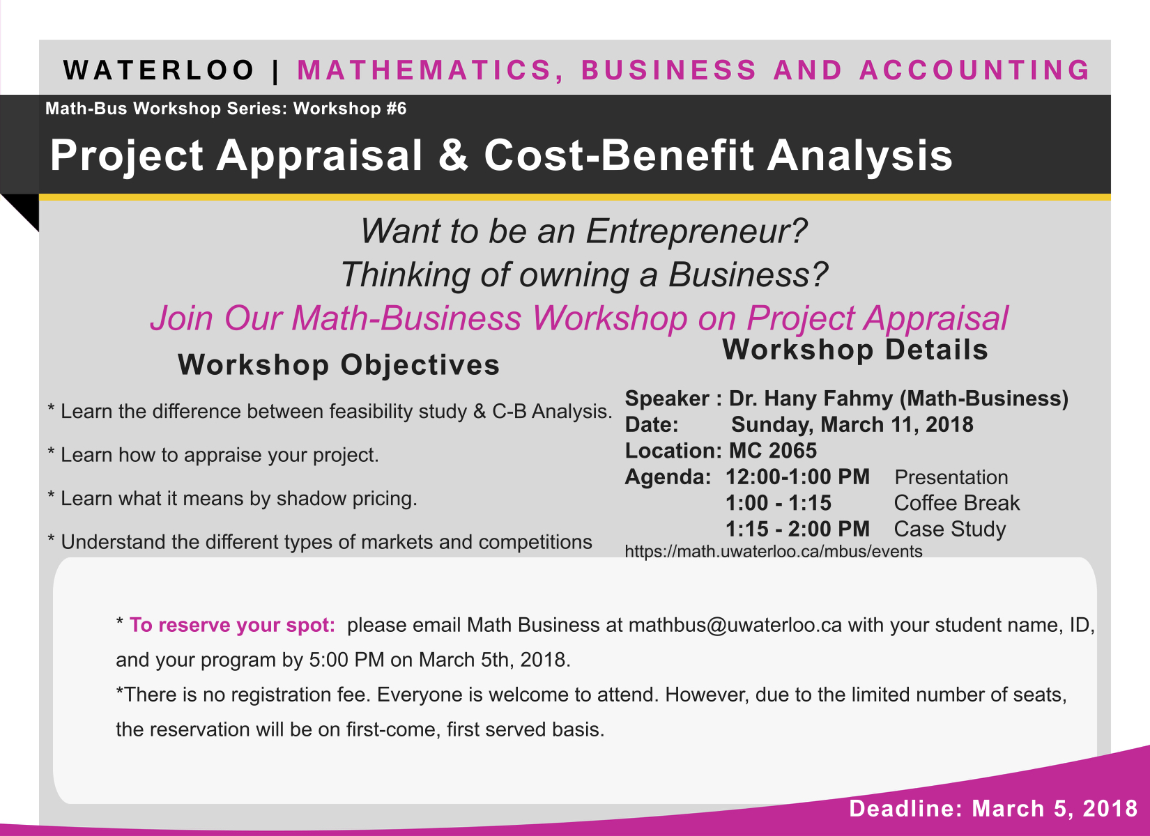 Poster for the Project Appraisal & Cost-Benefit Analysis Workshop on Sunday March 11, 2018