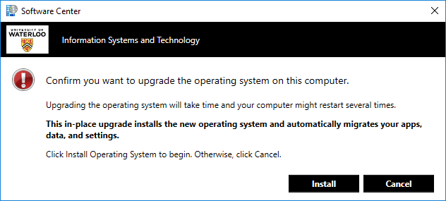 Software Center operating system upgrade warning