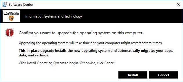 Software Center operating system upgrade warning