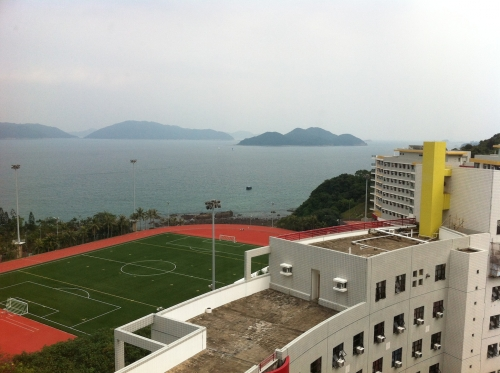 looking out my residence window at HKUST track field on the shore