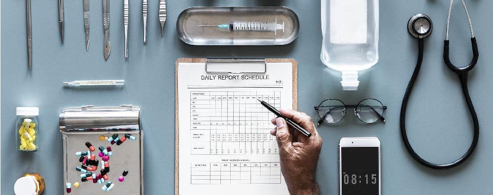 Flatlay of medical instruments