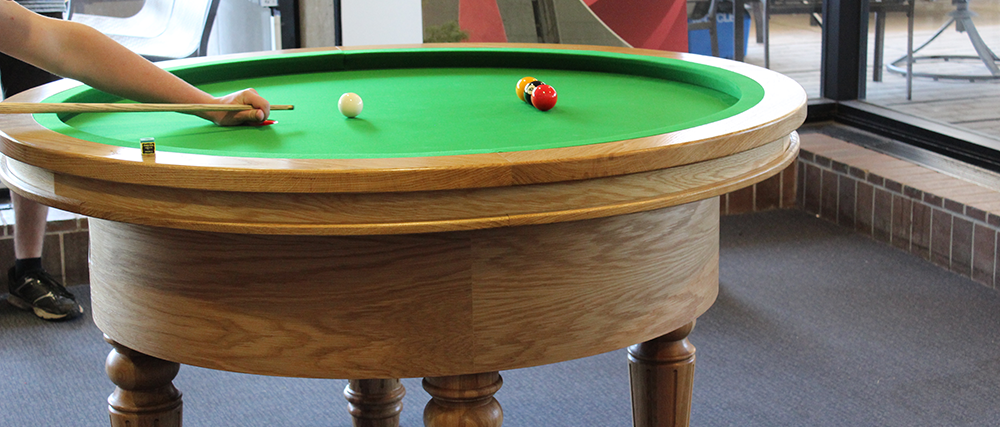 Close up of the elliptical pool table