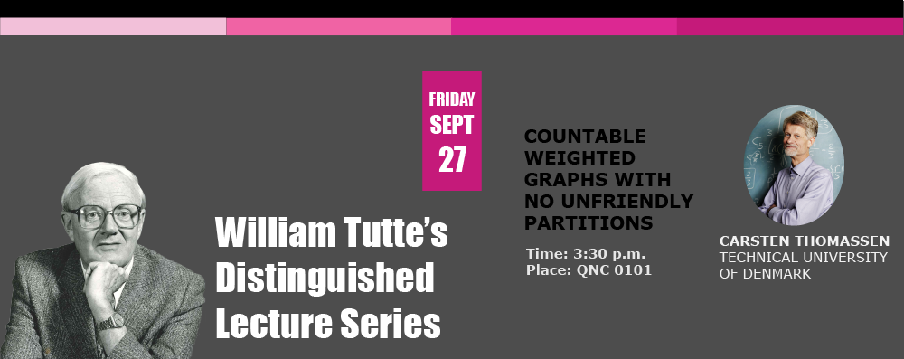 William Tutte's Distinguished Lecture Series: Countable weighted graphs with no unfriendly partitions with Carsten Thomassen
