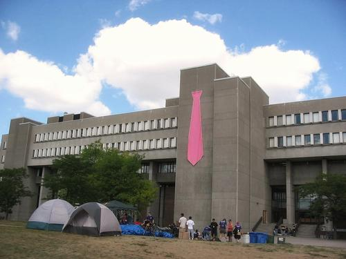 Math and Computer building with pink tie draped on the side