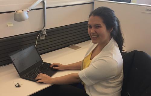 Caroline at desk
