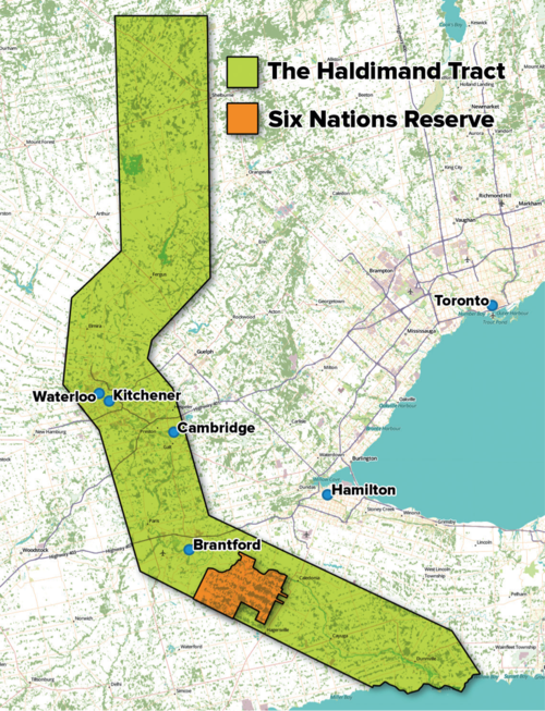 Contemporary map showing original Haldimand Tract and Six Nations territory as of 2015