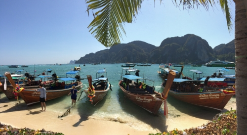 Phuket Thailand boats along shore