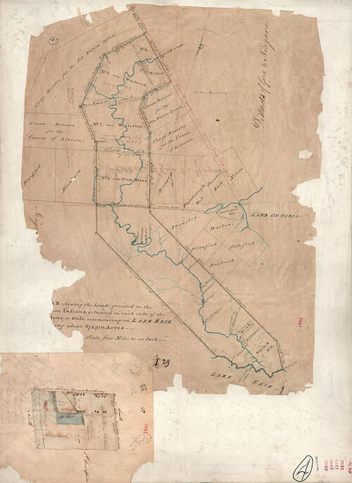 """1821 map by Thomas Rideout showing """"Indian Lands"""" along the Grand River"""