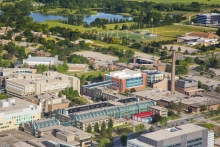 Aerial photo of the east side of University of Waterloo campus.