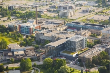 Aerial photo of the west side of University of Waterloo campus.
