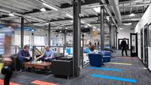 Open-concept office space of Velocity startup incubator