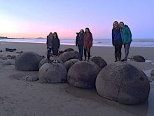 Moeraki Boulders, South Island New Zealand with friends from all over the world