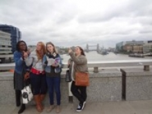 visit to London with London Bridge in background