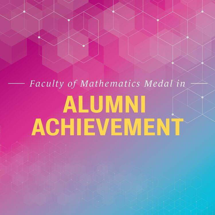 Alumni achievement banner with pink, gold, teal with hexagons