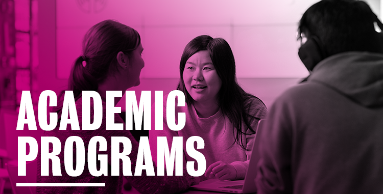 Academic programs header image of students talking