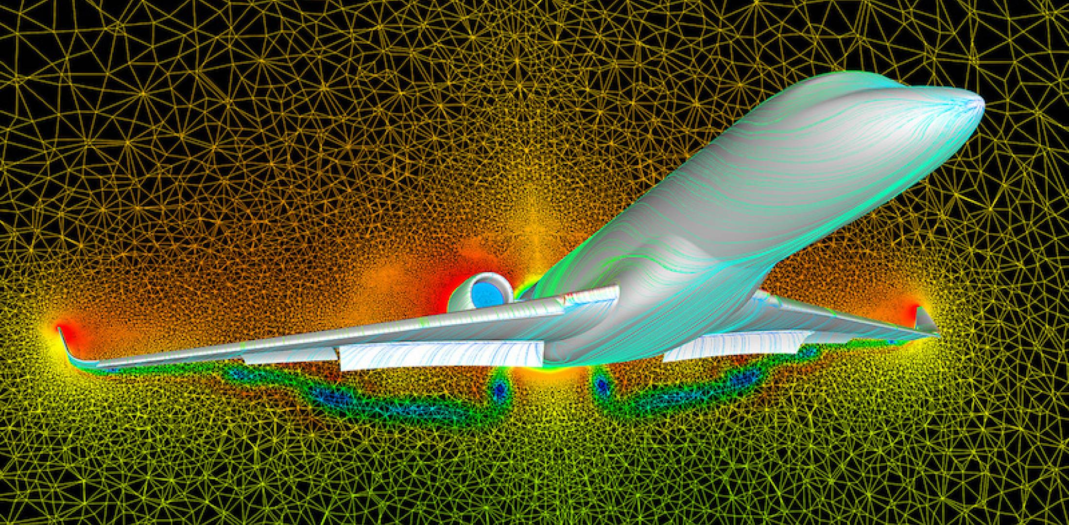 Airplane rendered in computational fluid dynamics