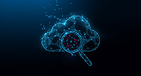 An illustration of a magnifying glass over a cloud showing binary code