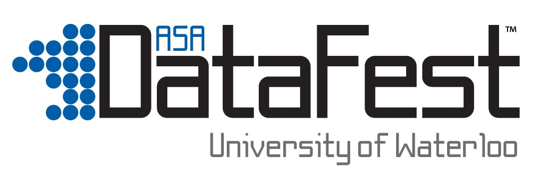 ASA text above DataFest text above University of Waterloo Text in a logo format