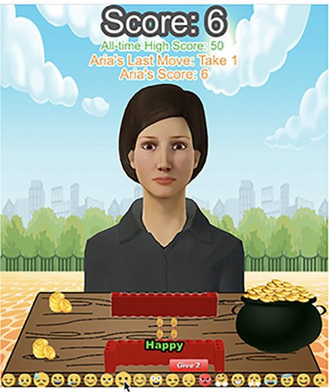 """3. Female virtual agent """"Aria"""" used in the study's social dilemma game"""