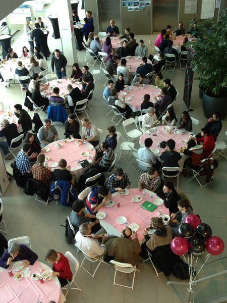 Graduate students having lunch.
