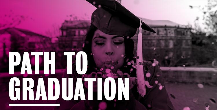 Girl wearing graduation cap.