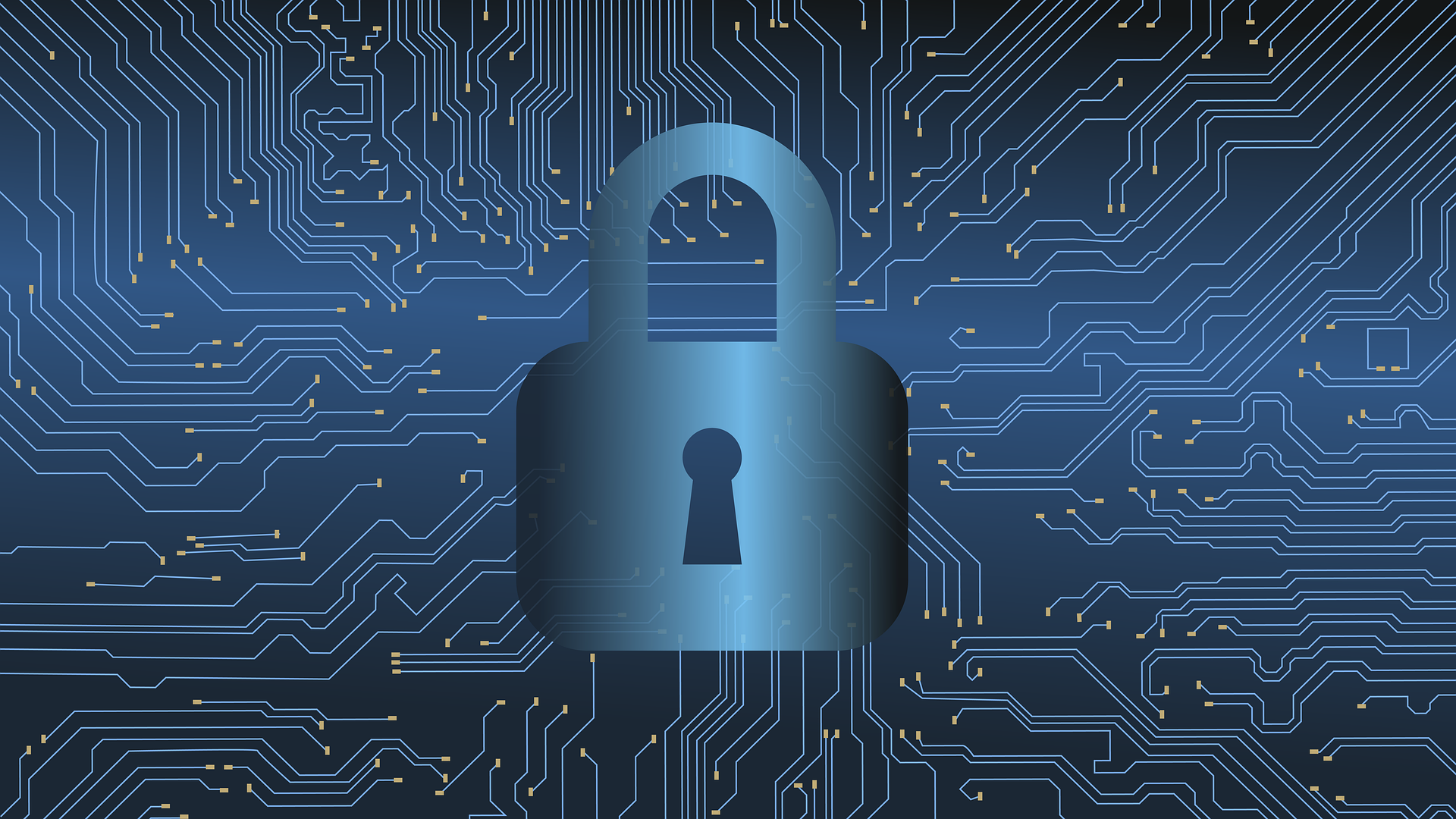 Cybersecurity graphic with lock icon
