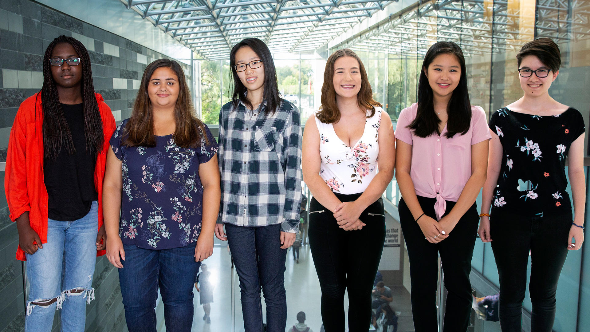 Six female students standing facing the camera.