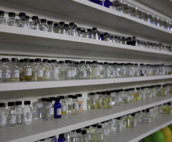 Shelves of perfume bottles