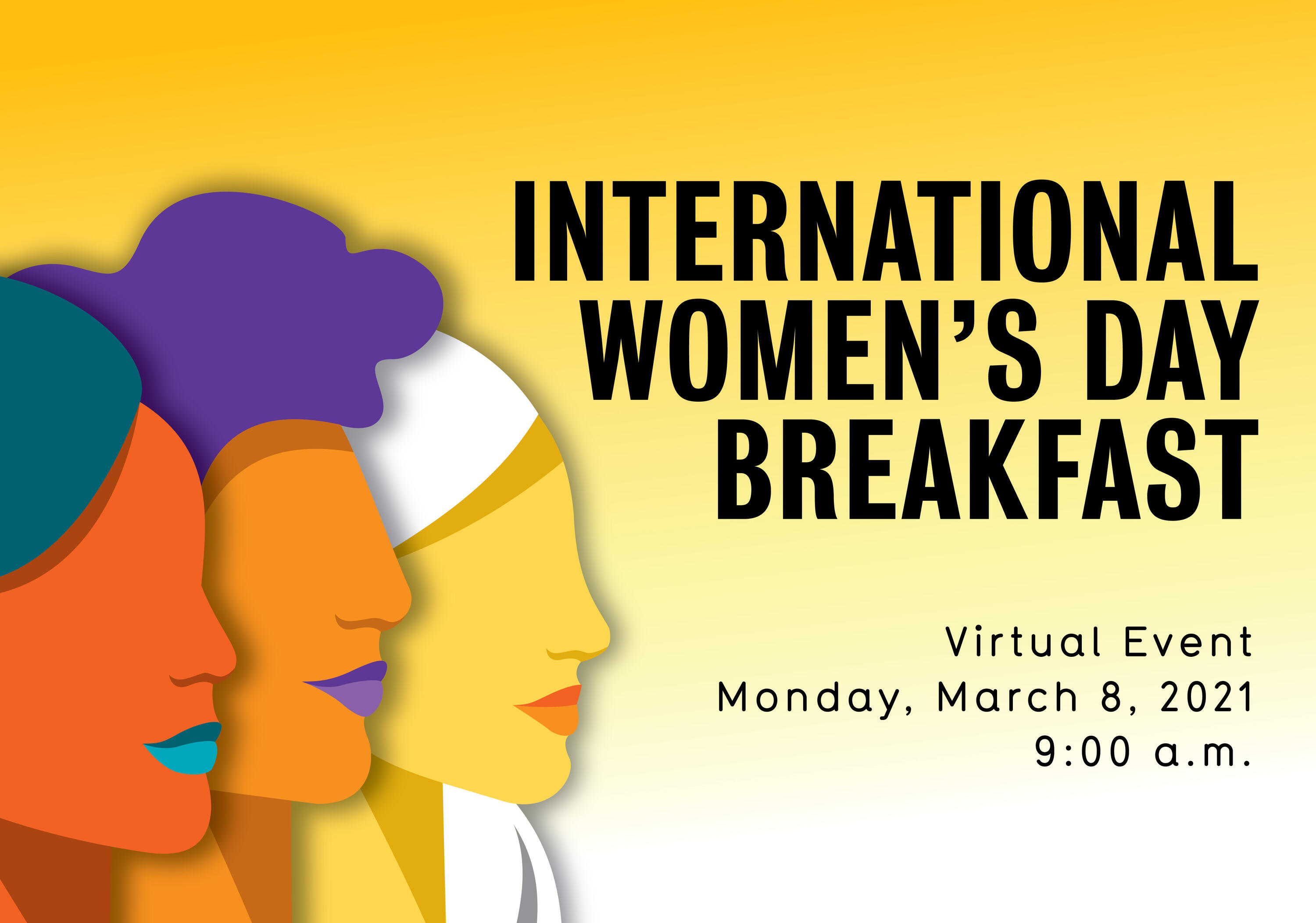 international women's day banner 3 female faces beside each other