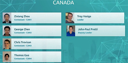 A screen shot of the Canadian team for the Closing ceremonies of IOI