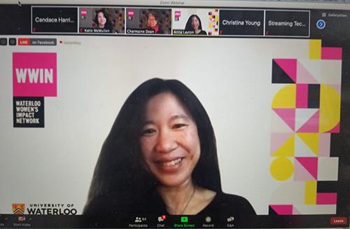Anita Layton on Zoom for the 2020 Women in Math Virtual Celebration
