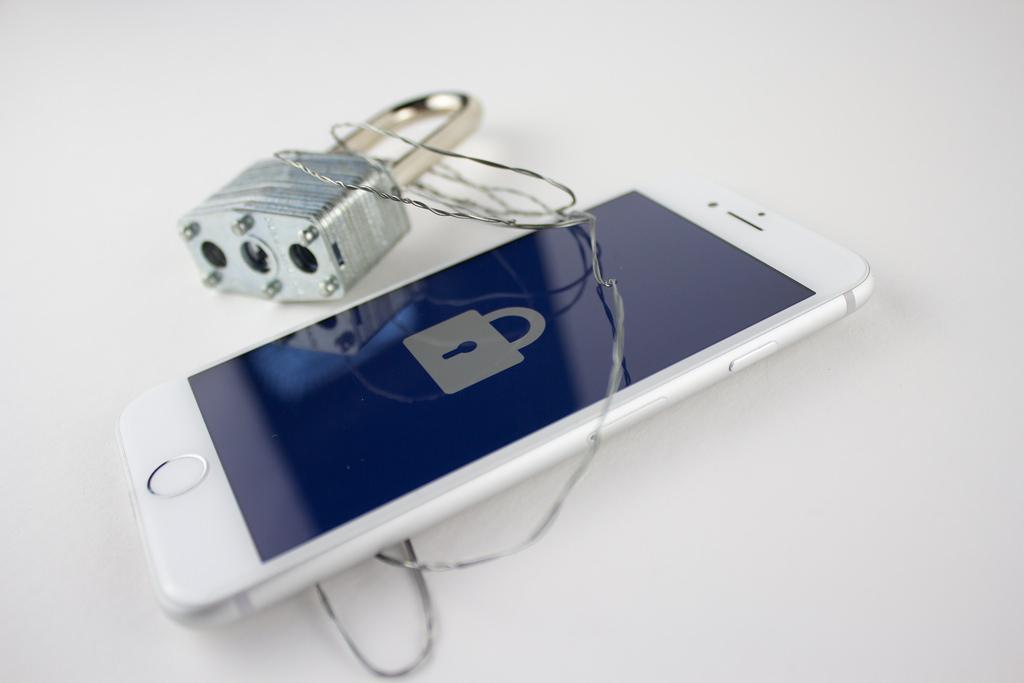 Padlock around a smartphone