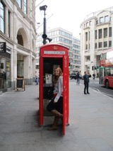 standing in a London phone booth