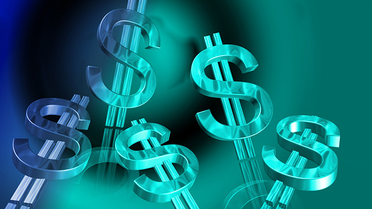 Dollar signs on a blue background