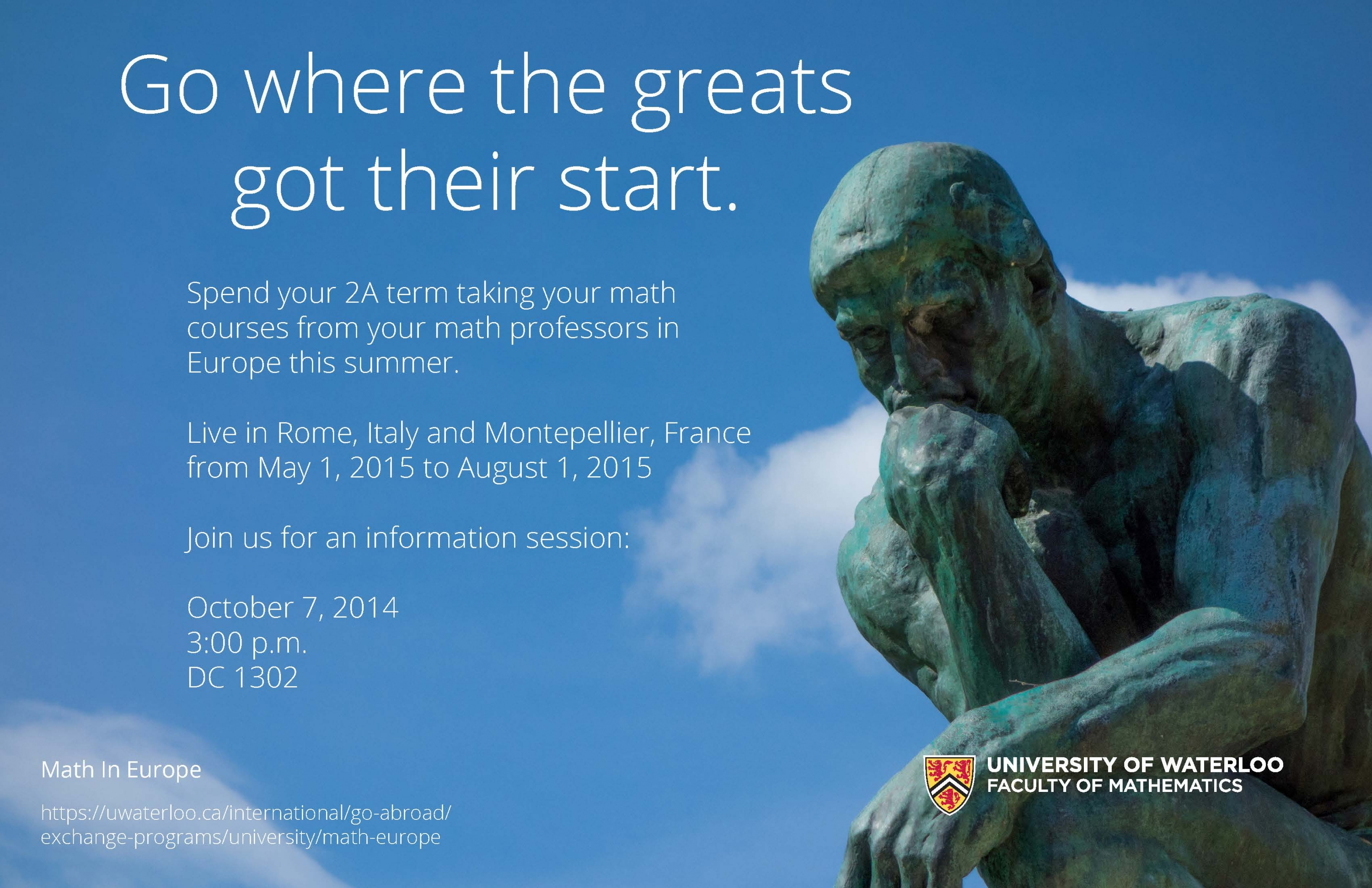 Math in Europe info session poster