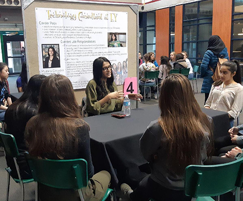 Mubina Chunari speaking to high school students at Think About Math!