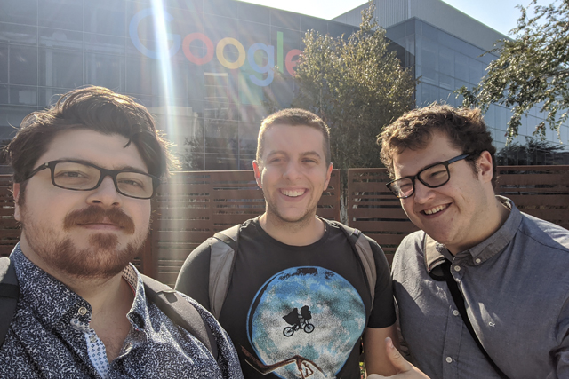 Verdon, Broughton and McCourt in front of Google HQ.