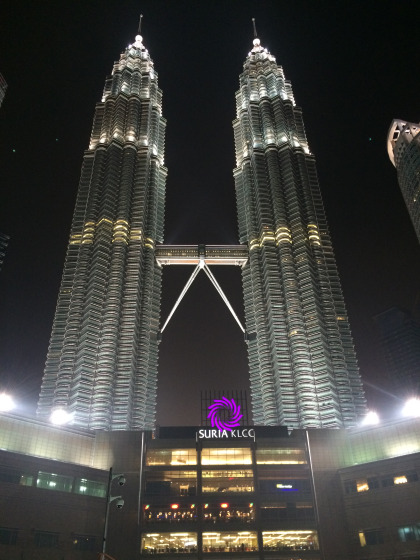 at night Petronas Towers