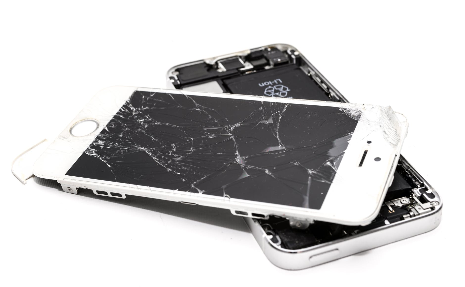 Smartphones with broken glass screen