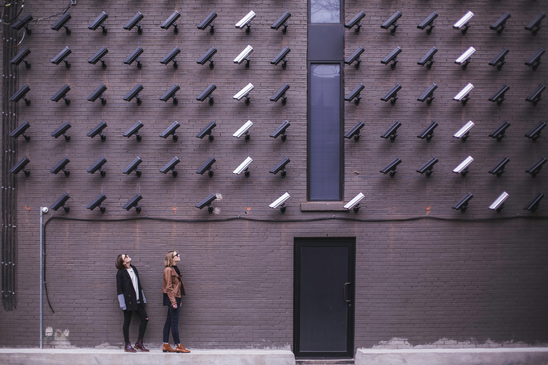 People under CCTV cameras