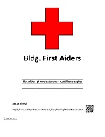 First aiders poster that can be filled with the name of the person that has been first aid trained, and how the can be contacted in case of an emergency.