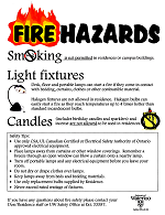 Fire hazards poster that indicates the risk of potential fire sources.